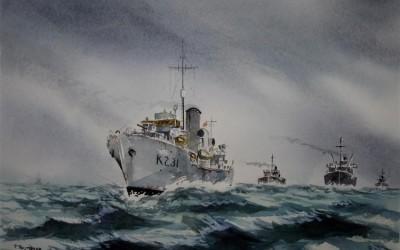 K231.HMCS Calgary. Corvette in convoy