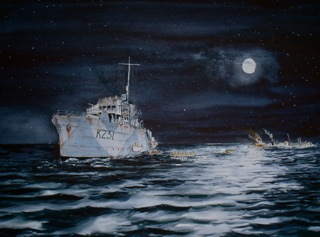 HMCS Calgary.To the rescue. ( Night of July 30th 1942 off Sable Island.